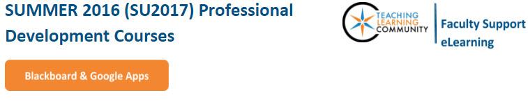Summer Professional Development Courses - Blackboard & Google Apps